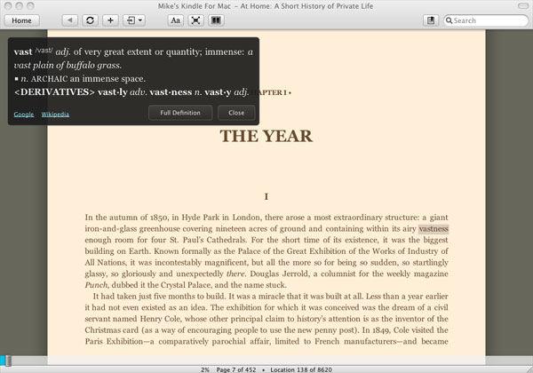 Screenshot af Kindle für Mac