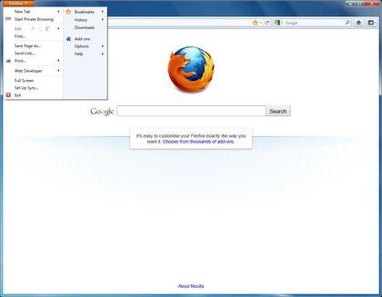 Screenshot af FireFox für Mac (deutsch)