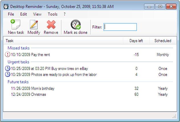 Screenshot af Desktop-Reminder