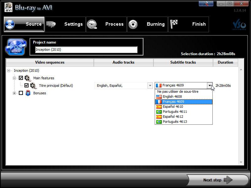 Screenshot af Blu-ray to AVI