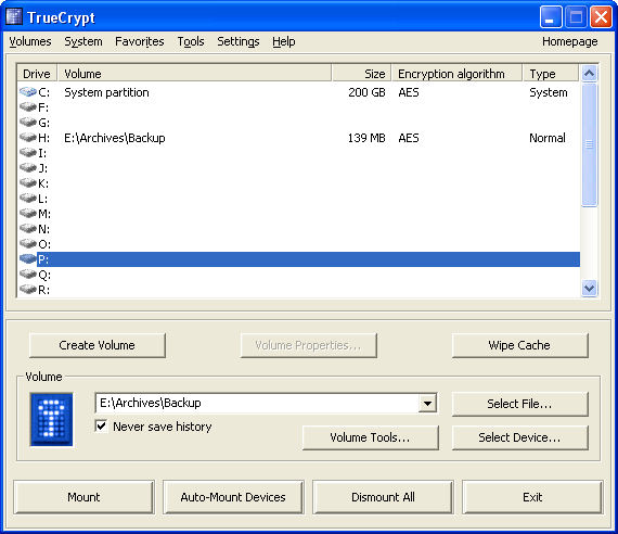 Screenshot af TrueCrypt für Mac