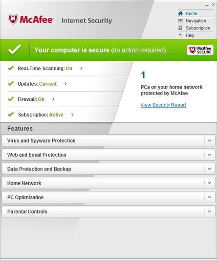 Screenshot af McAfee Internet Security für Mac