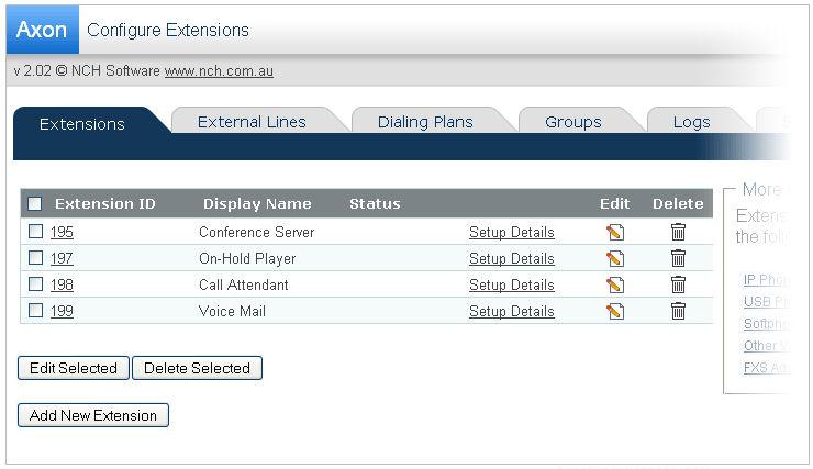 Screenshot af Axon Virtual PBX