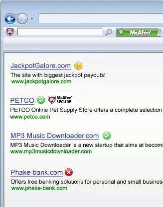 Screenshot von McAfee SiteAdvisor für Mac