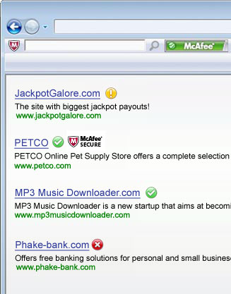 Screenshot af McAfee SiteAdvisor für Mac