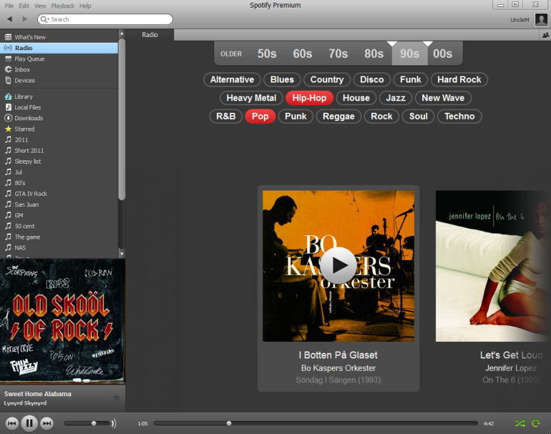 Screenshot af Spotify für Mac