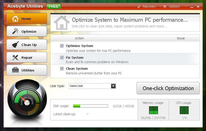 Screenshot af Acebyte Utilities Free
