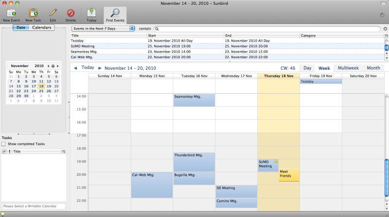 Screenshot af Mozilla Sunbird til Mac