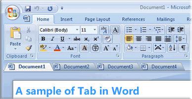 Screenshot von Office Tab