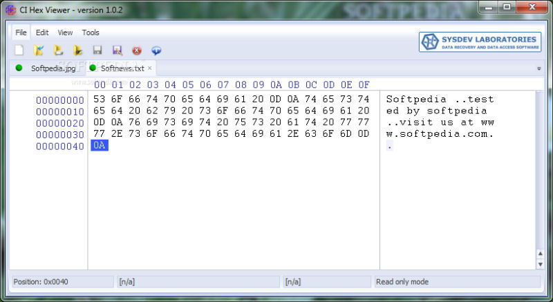 Screenshot af CI Hex Viewer til Mac
