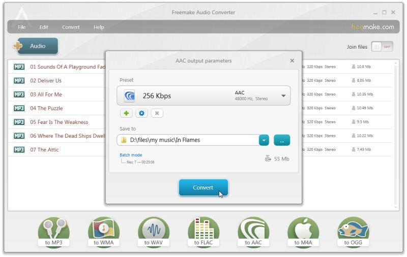 Screenshot af Freemake Audio Converter