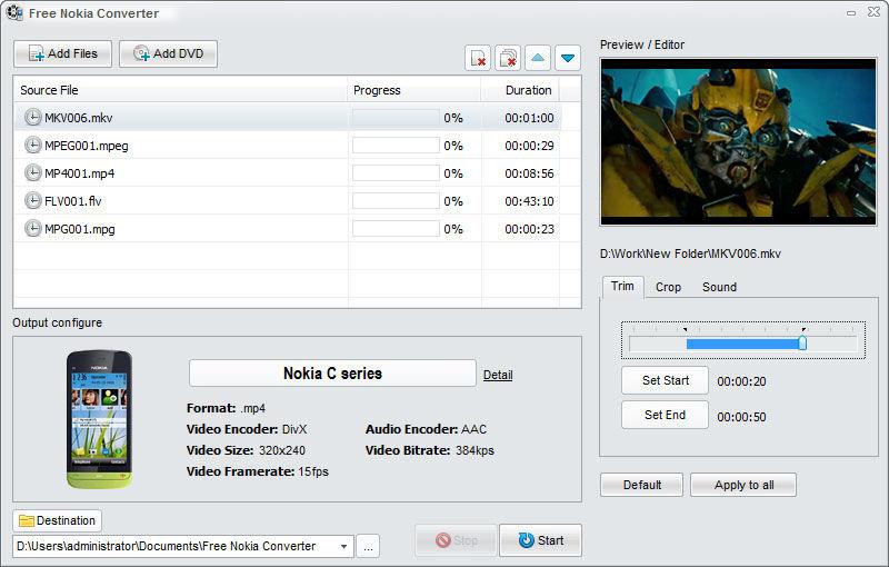 Screenshot af Free Nokia Converter