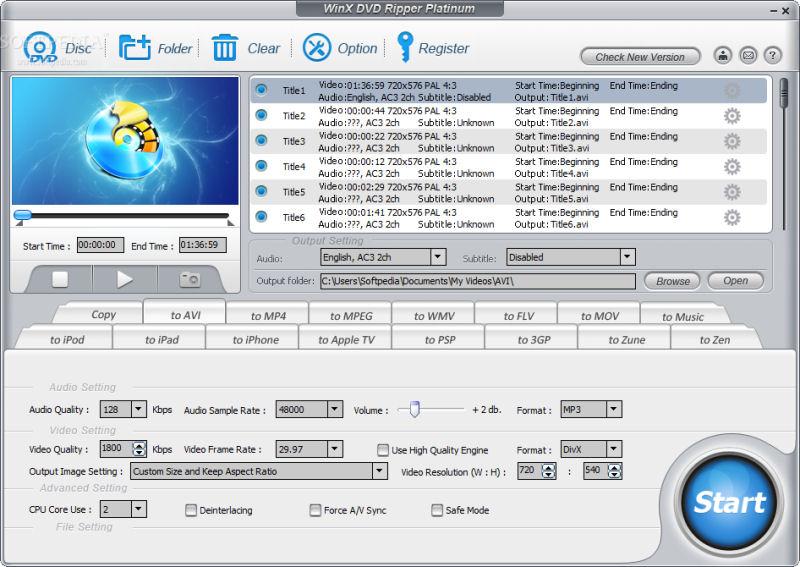 Screenshot af WinX DVD Ripper Platinum