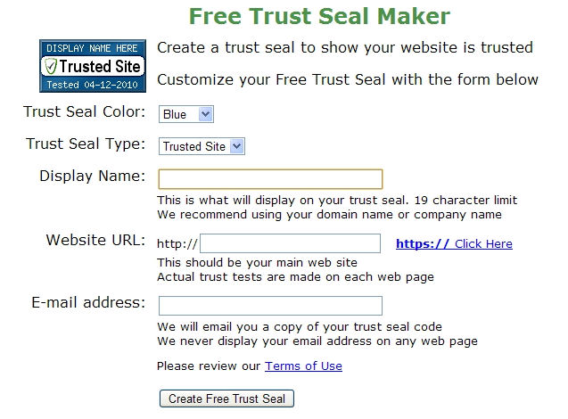 Screenshot af Free Trust Seal Maker
