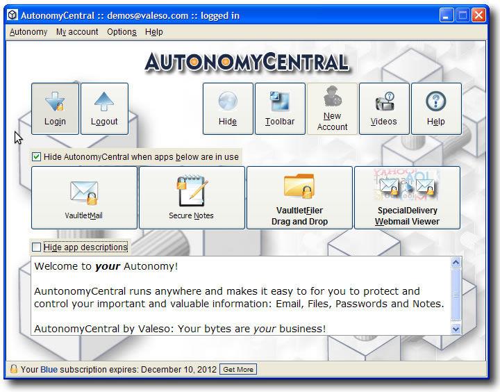 Screenshot af AutonomyCentral für Mac