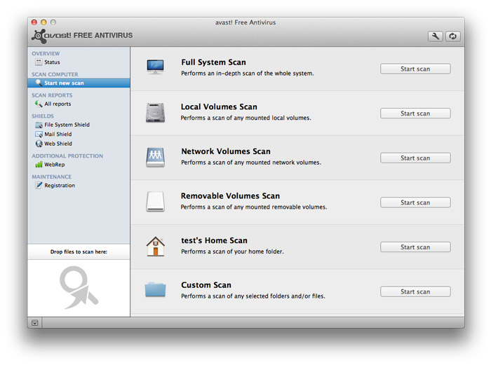 Screenshot af Avast! Free Antivirus für Mac