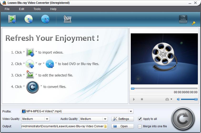 Screenshot af Leawo Blu-ray Video Converter