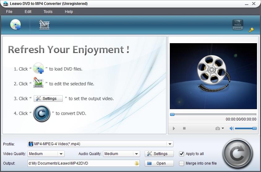 Screenshot af Leawo DVD to MP4 Converter Free