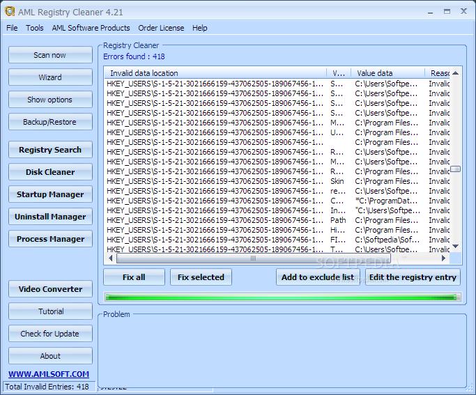 Screenshot af AML Registry Cleaner