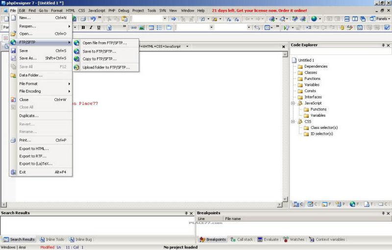 Screenshot af phpDesigner