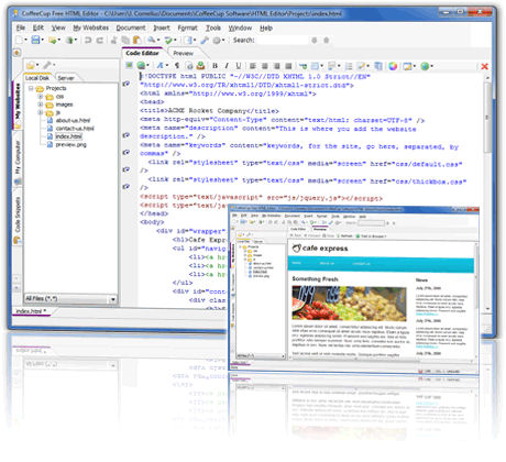 Screenshot af CoffeeCup Free HTML Editor