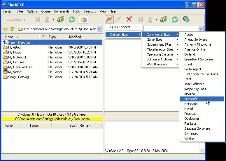 Screenshot af FlashFXP